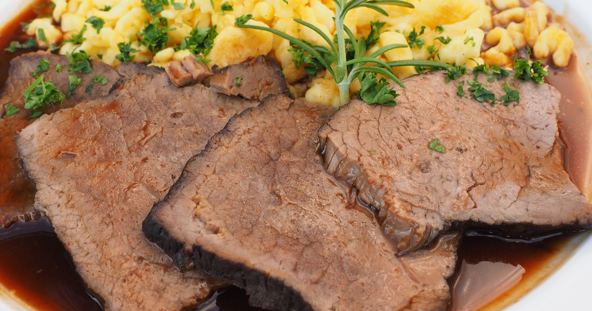 Sauerbraten Is A Beef Pot Roast Marinated In Vinegar And Spices