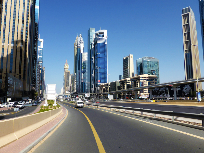 Dubai skyscrapers and highway